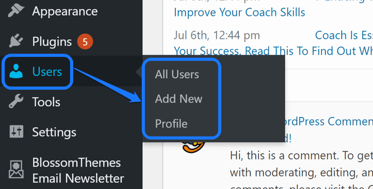 Highlighting the buttons inside the Users option in WordPress's sidebar