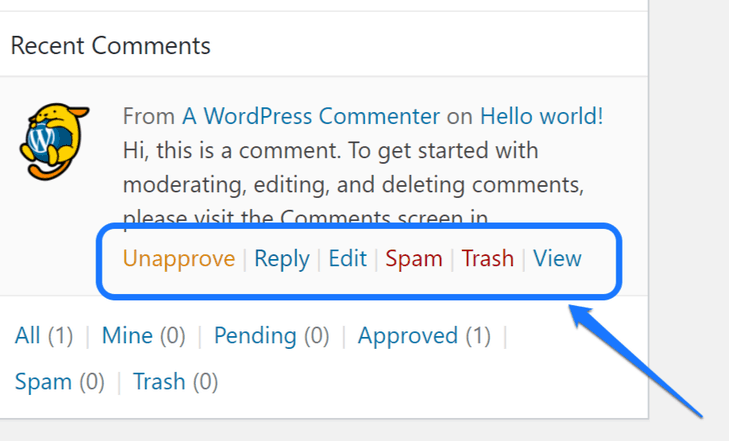 Highlighting the comments-related settings in WordPress's work area