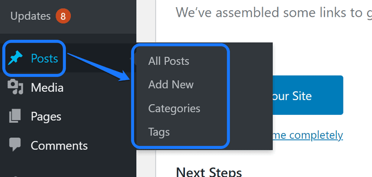 Highlighting the settings inside the drop-down menu of the Posts section in WordPress's sidebar