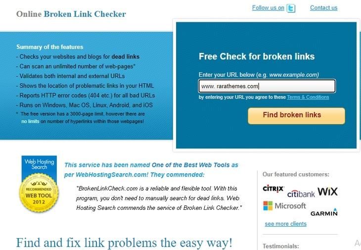 online broken link checker tool