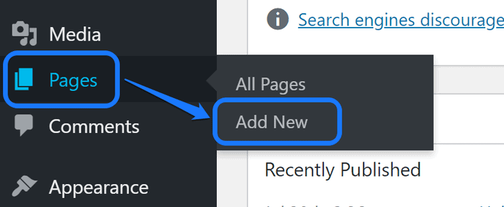 Pointing at the Add New button inside Pages option in WordPress sidebar