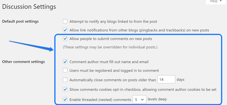 Pointing at the Comments setting inside the WordPress's Discussion page