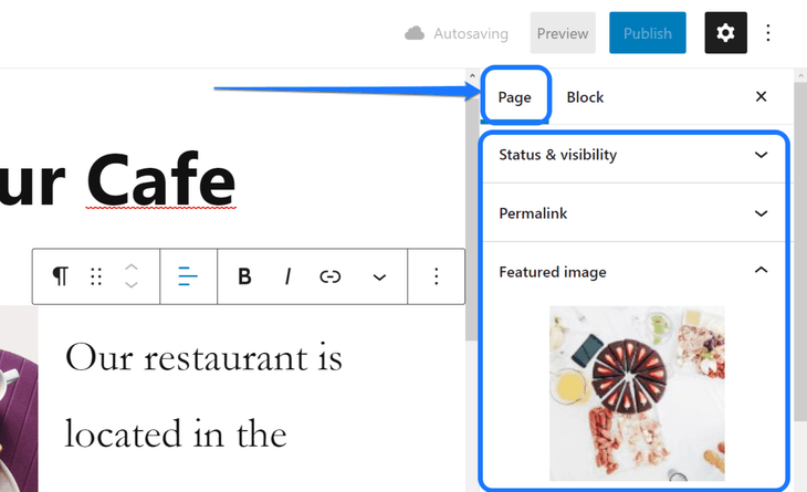 Pointing at the Page option in WordPress's Page editor's right sidebar