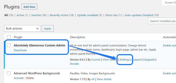 Pointing at the Settings button of Absolutely Glamorous Custom Admin plugin in WordPress