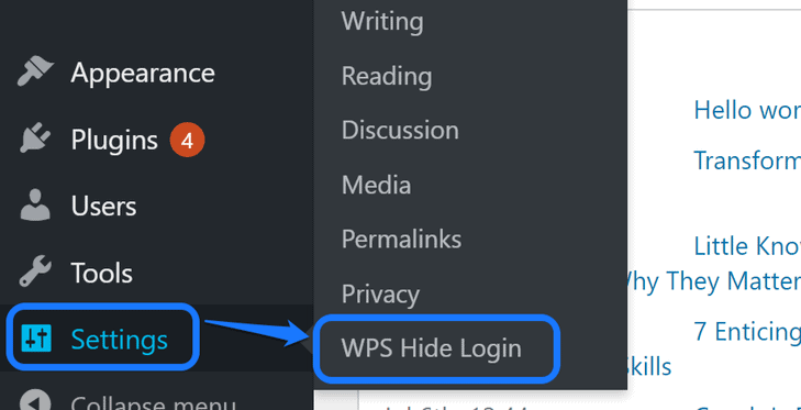 Pointing at the WPS Hide Login button inside Settings option in WordPress sidebar