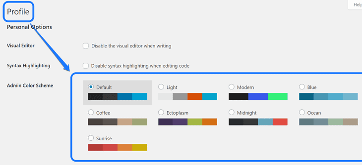 Pointing at the admin color scheme in the Profile page of WordPress dashboard
