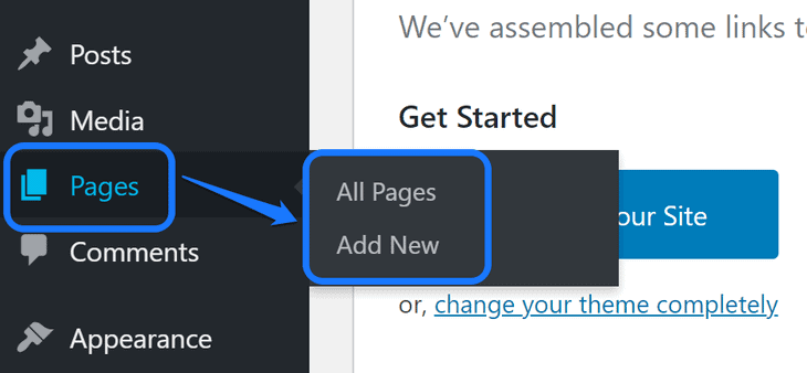 Pointing at the buttons inside Pages' option in WordPress sidebar
