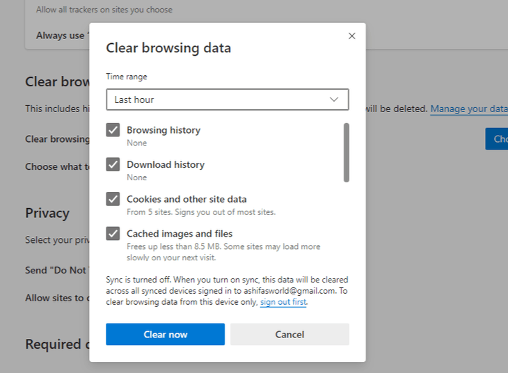 clear browsing cache on IE