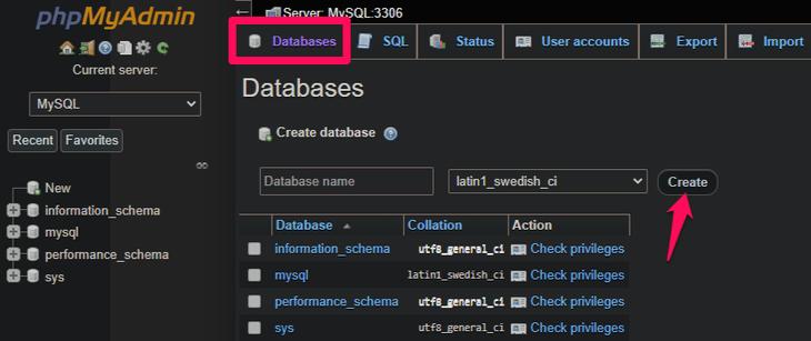 create the database