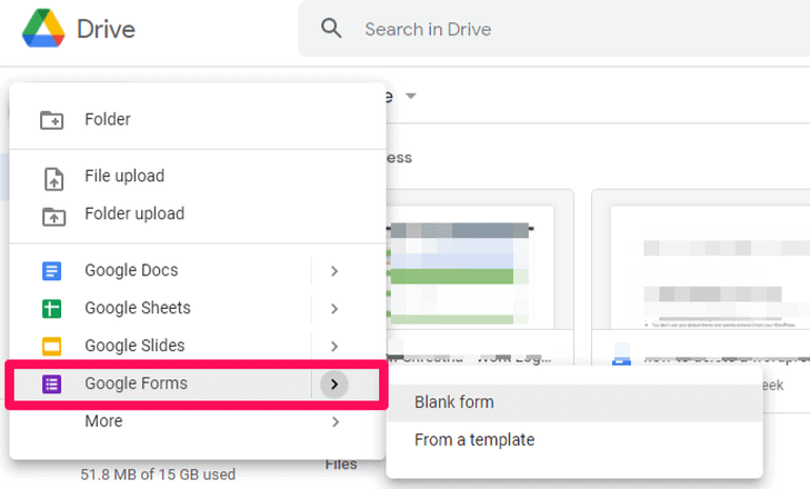 Add a Google Form on your drive