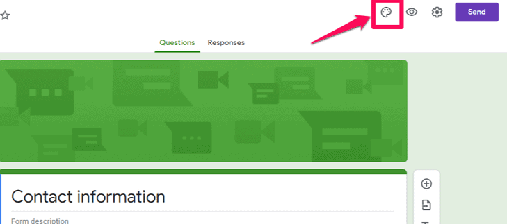 Palate icon on the Google Form