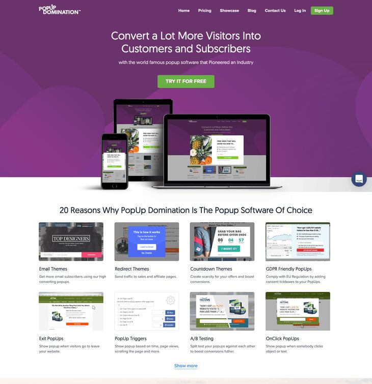 PopUp Domination best plugins to add popup to WordPress