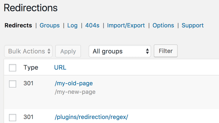 Redirection demo in redirection plugin
