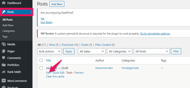 Select the post to embed Google Form