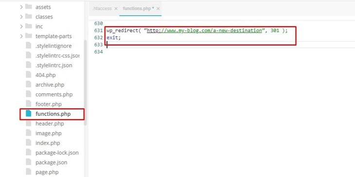 adding redirection in functions.php