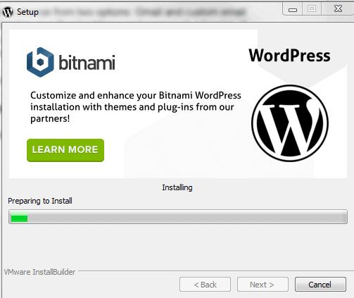 bitnami wordpress installation processing