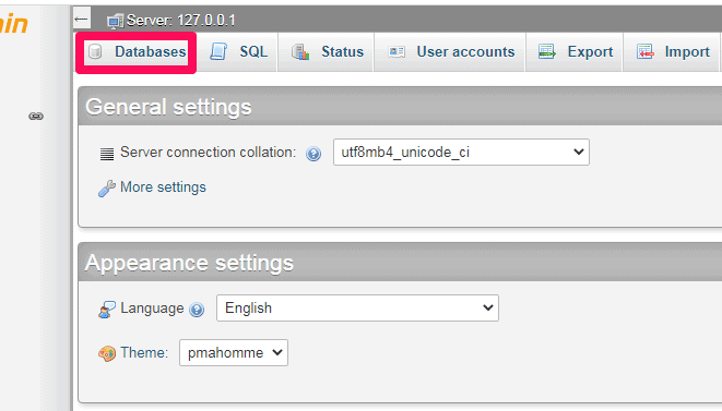 click on database