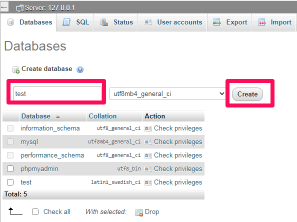 how to create database in xampp