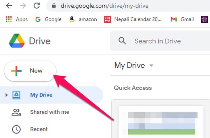 create new form on Google drive