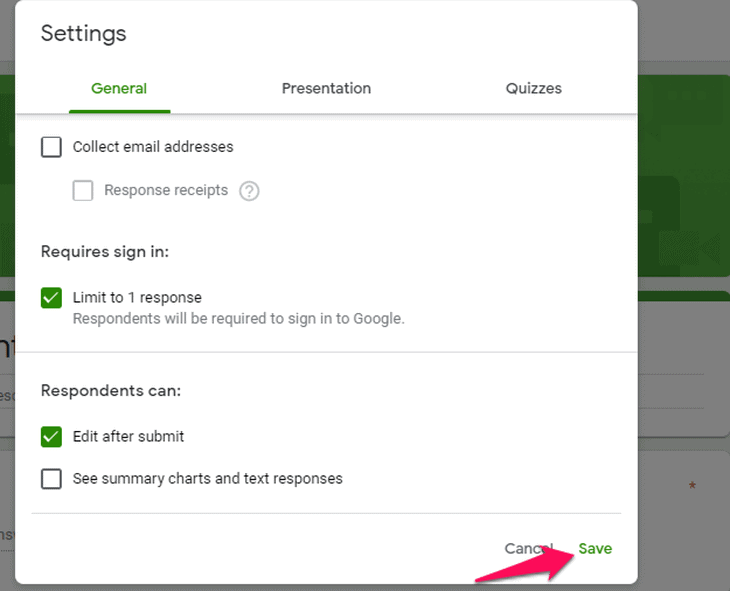 edit the settings and save