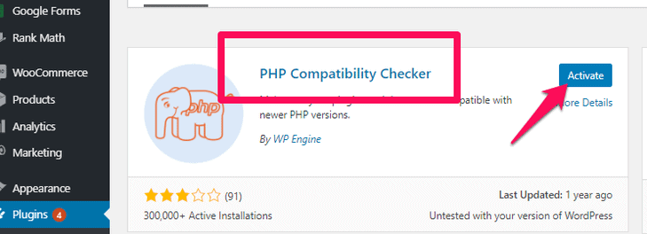 install and activate the PHP compatibility checker plugin