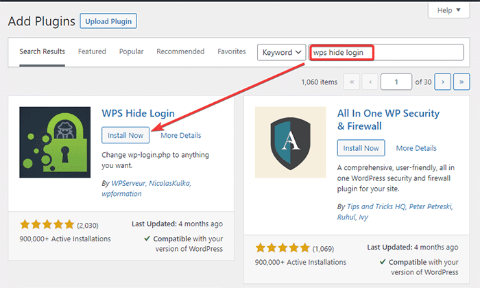 Install WPS hide login plugin