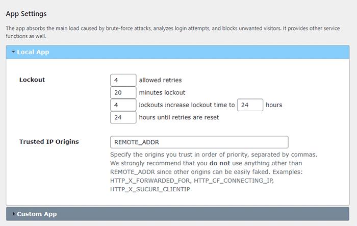 Limit Login attempts plugin screen