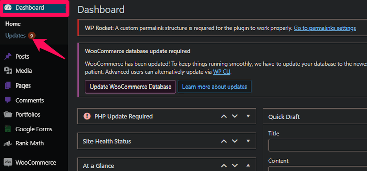 updating the theme and plugins on WP dashboard