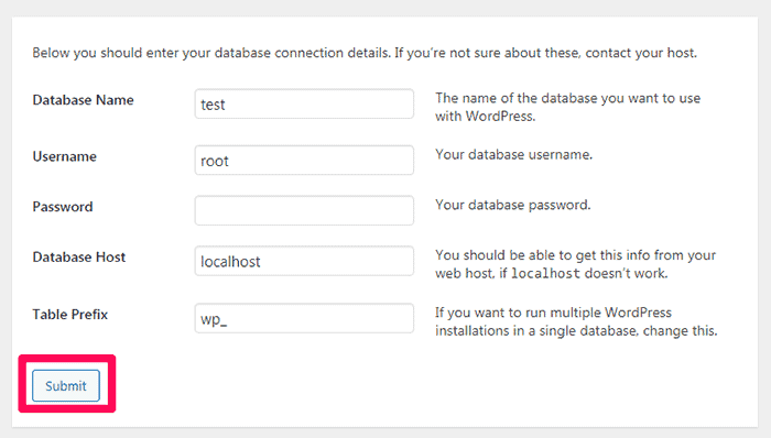 WordPress and database connection details