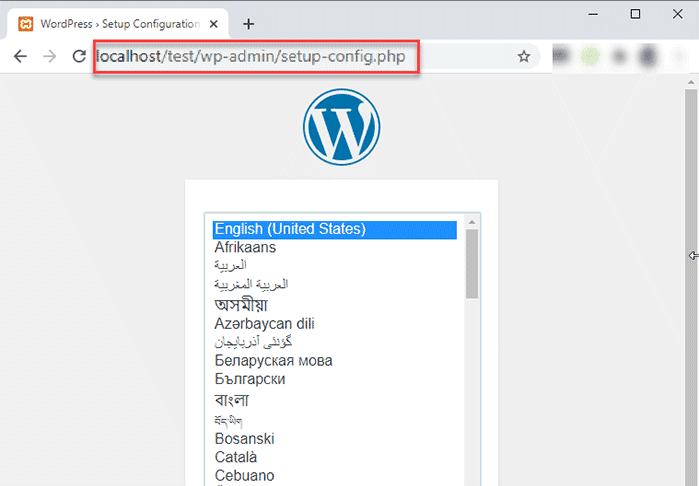 WordPress installation process-
