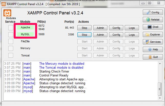 XAMPP control panel start
