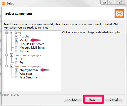 xampp windows install component