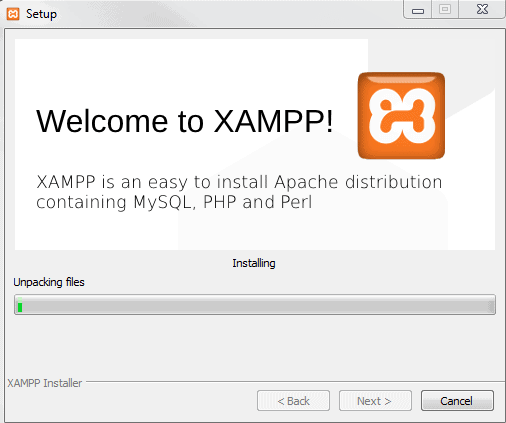 xampp installation processing