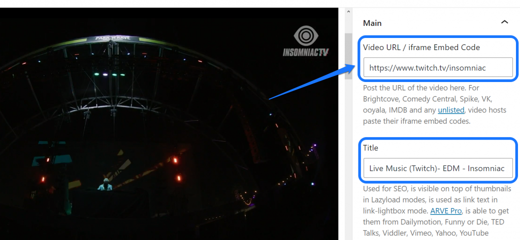 Entering the video URL and title in the editing interface of WordPress page editor
