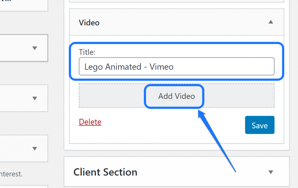 Entering the video title and clicking at the Add Video button of a sidebar widget in WordPress