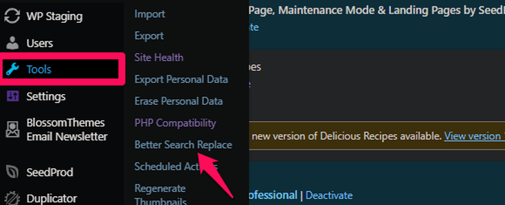 Go the better search replace option on dashboard