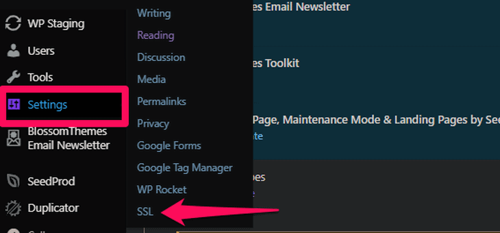 Go to SSL option on the Settings