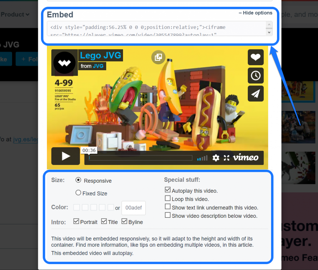 Highlighting the embedding shortcode and adjustment settings of a Vimeo video
