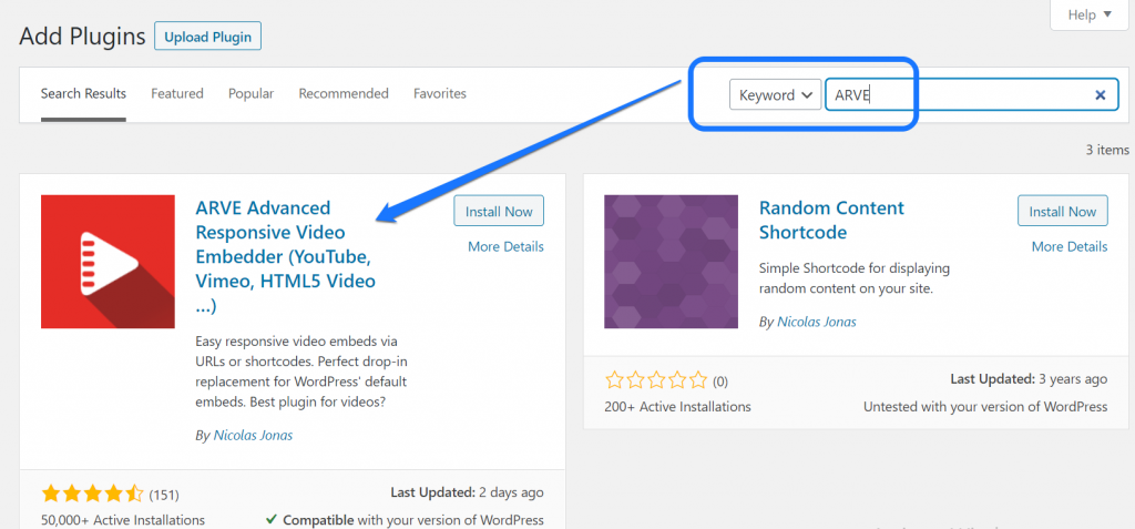Installing and activating the Advanced Responsive Video Embedder (ARVE) WordPress plugin