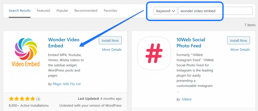 Installing and activating the Wonder Video Embed WordPress plugin