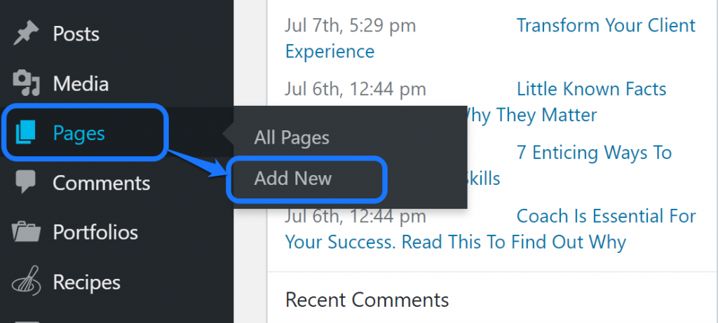 Pointing at the Add New button inside the drop-down menu of Pages option in WordPress