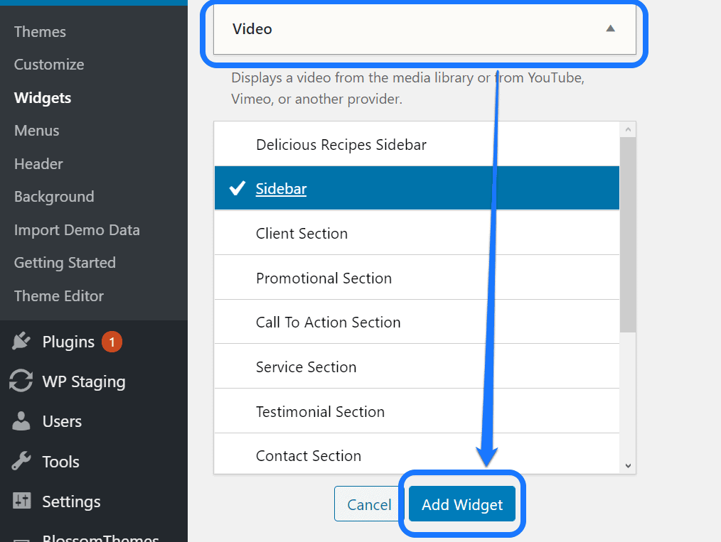Pointing at the Add Widget button inside the Video menu in the Widgets page of WordPress
