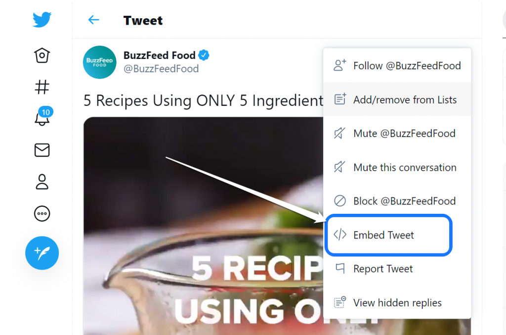 Pointing at the Embed Tweet button inside the drop-down menu of Twitter