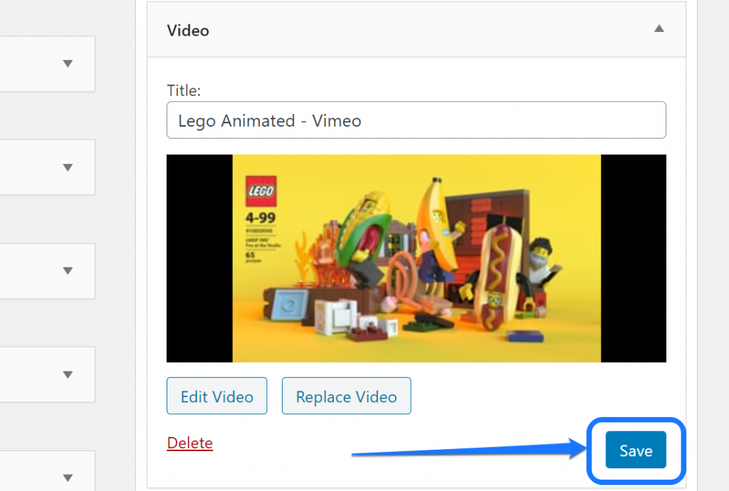 Pointing at the Save button below the video thumbnail of a sidebar widget in WordPress