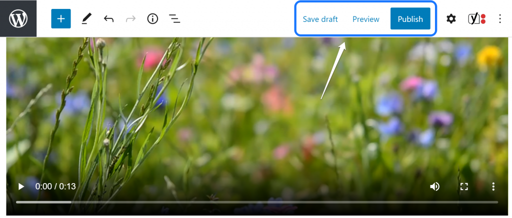 Pointing at the Save draft, Preview, and Publish buttons in WordPress's page editor