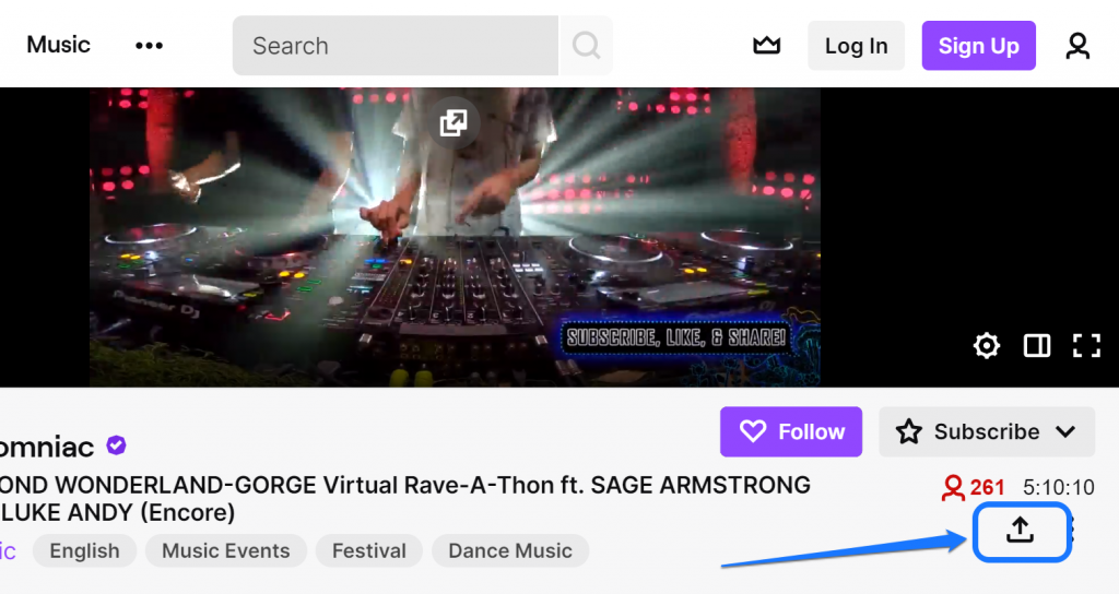Pointing at the Share icon of a live music video in Twitch.tv