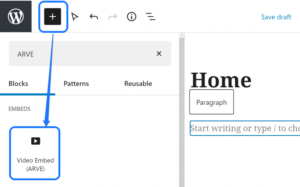 Pointing at the Video Embed (ARVE) block inside the drop-down menu in WordPress page editor