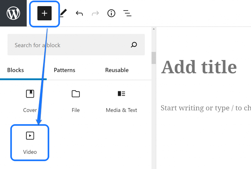 Pointing at the Video button inside the drop-down menu of WordPress's page editor