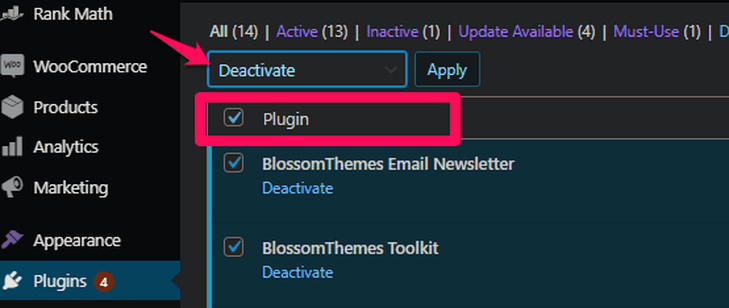 Select all the plugins and deactivate