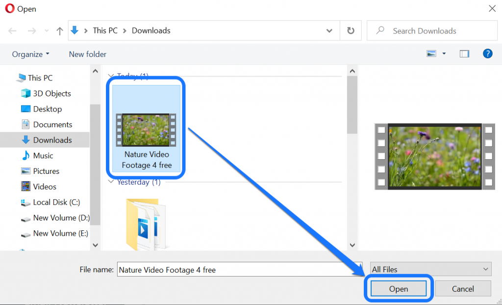 Selecting a video from computer's hard drive to upload it to WordPress's Media Library